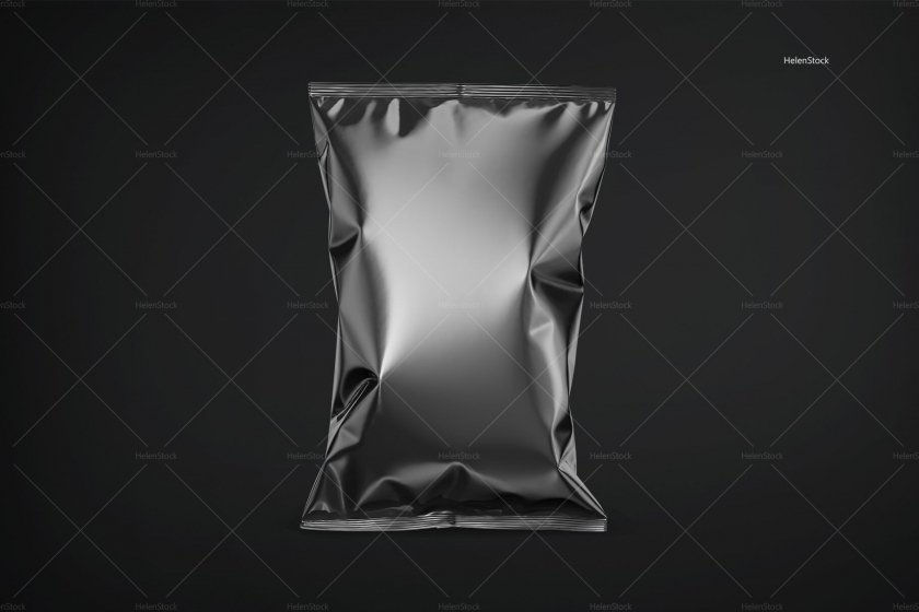 Black Snack Package Mockup - Front View
