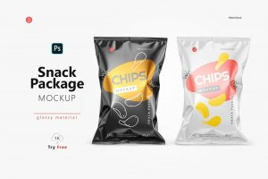 Glossy Snack Package Mockup Cover