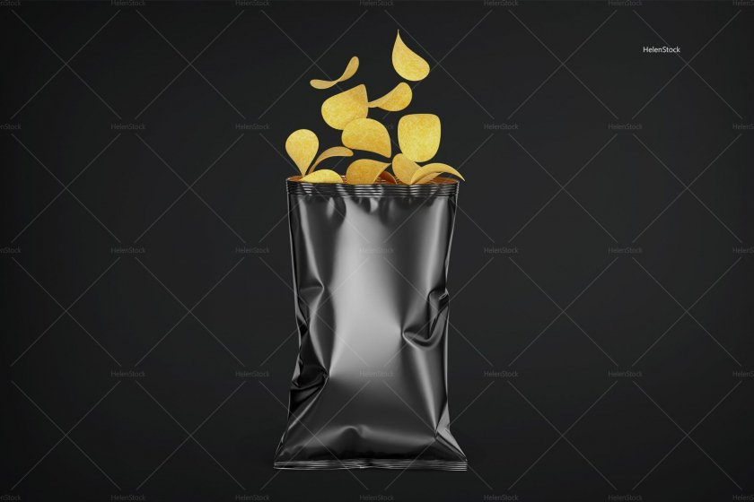 Opened Glossy Chips Package Black