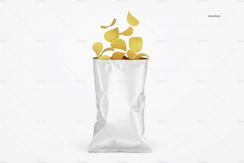 Opened Glossy Chips Package White
