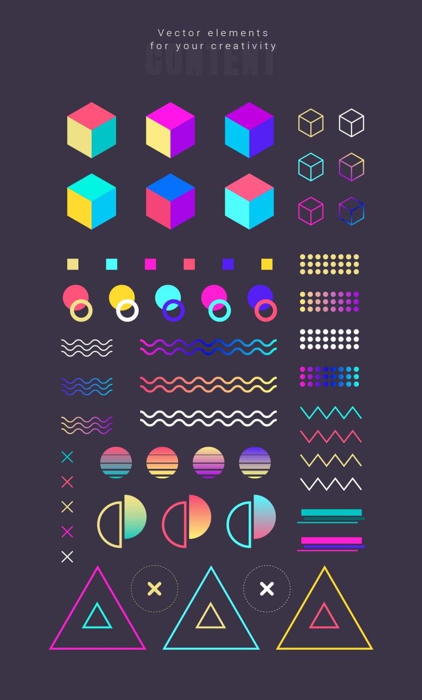3D Suprematism vector elements