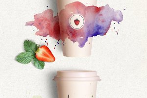 watercolor on cup