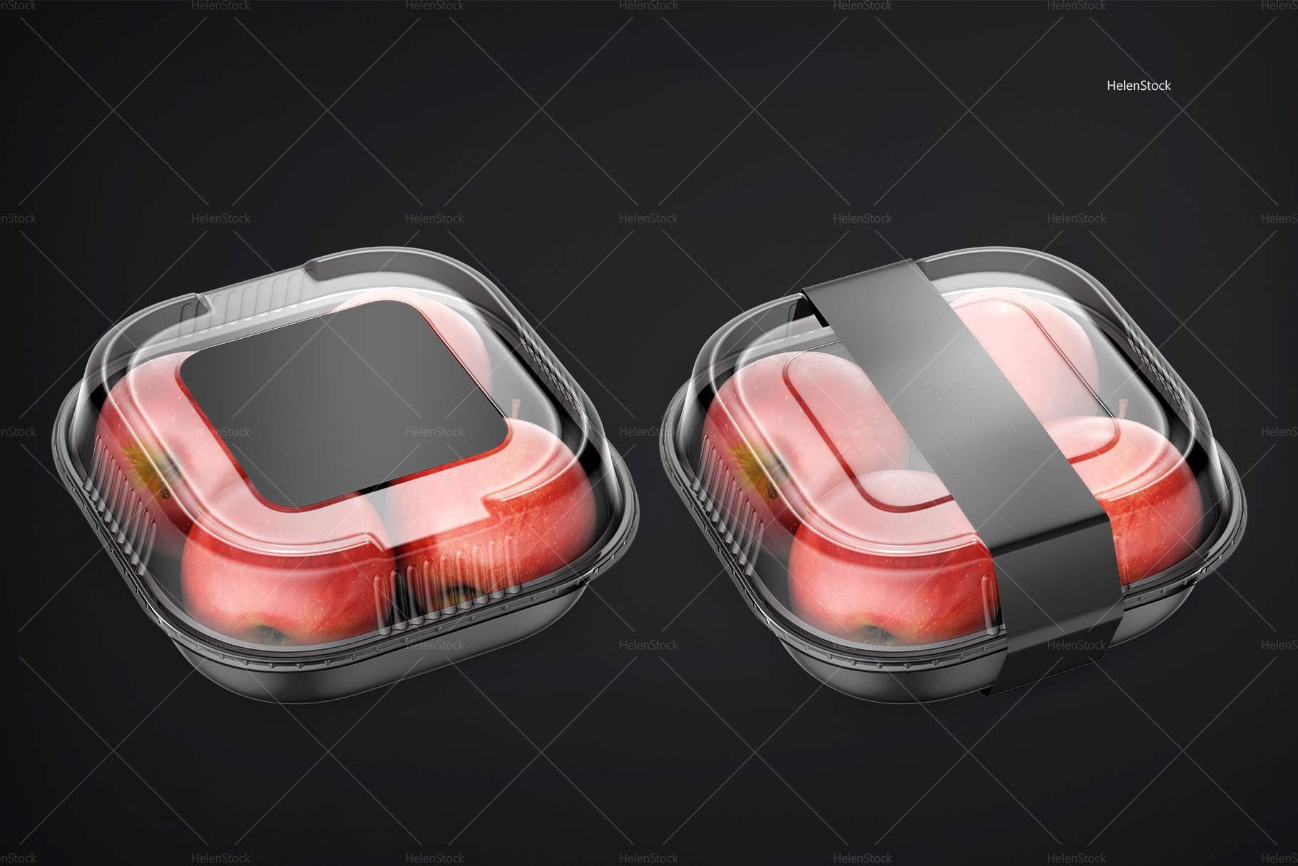 Plastic Container with Apples Mockup Black