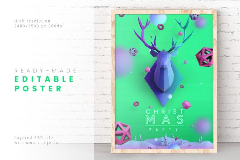 Christmas Poster Aquamarine Color 01
