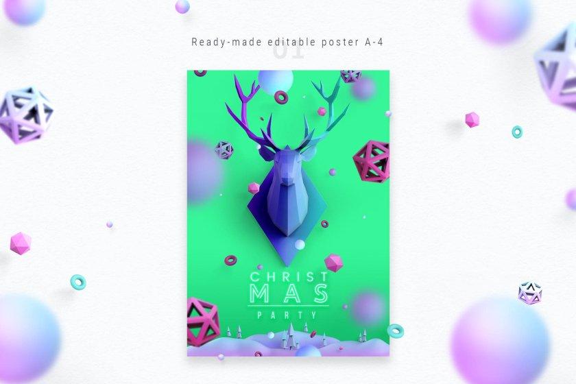 Christmas Poster Aquamarine Color 03