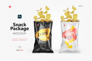 Opened Glossy Snack Package Mockup