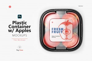 Plastic Container with Apples Mockup cover