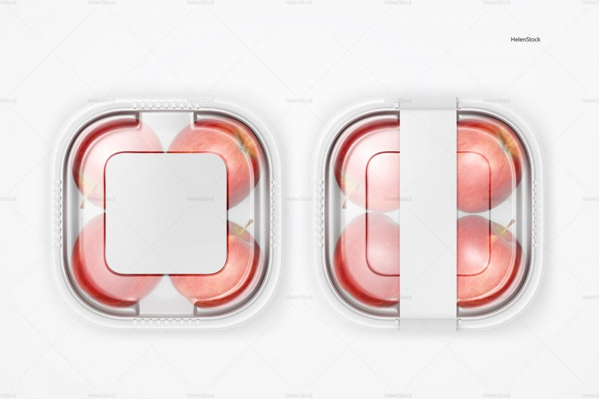 Plastic Container with Apples Mockup White