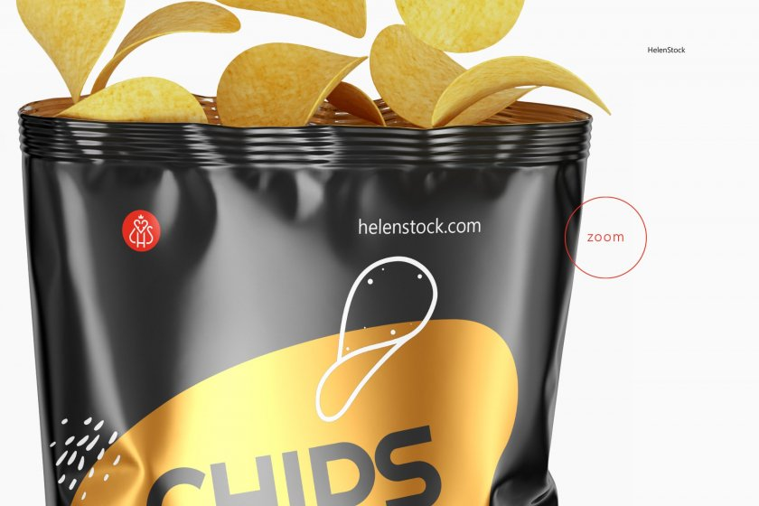 Zoom Opened Glossy Chips Package