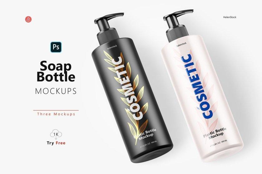 Soap Bottle Mockups Half-side Set Cover