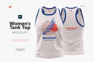 Women's Tank Top Mockups, Front & Back cover