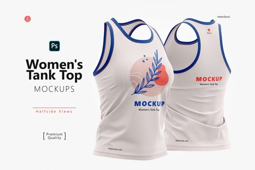 Women's Tank Top Mockup Set Half-Side Cover