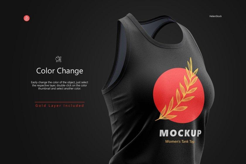 Fitness Sleeveless Shirt Mockup Set Half-Side Color Change