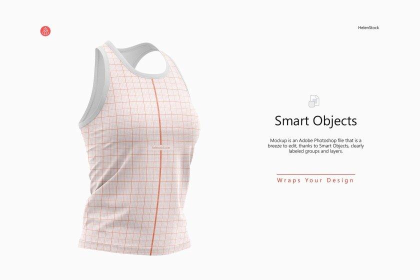 Fitness Sleeveless Shirt Mockup Set Half-Side Warp Grid