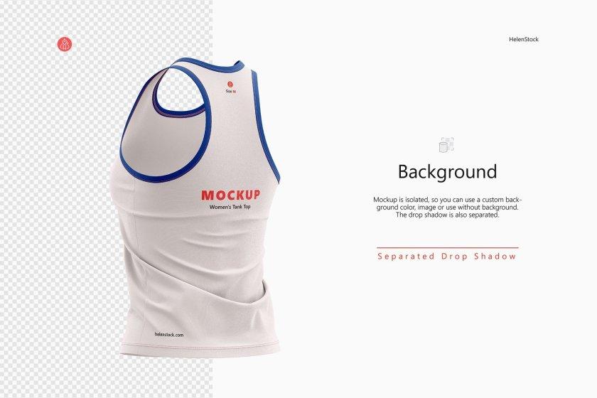 Fitness Sleeveless Shirt Mockup Set Half-Side Trasparent Background