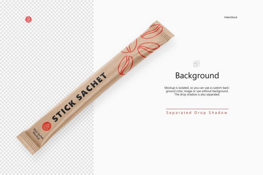Kraft Stick Sachet Mockups on Transparent Background