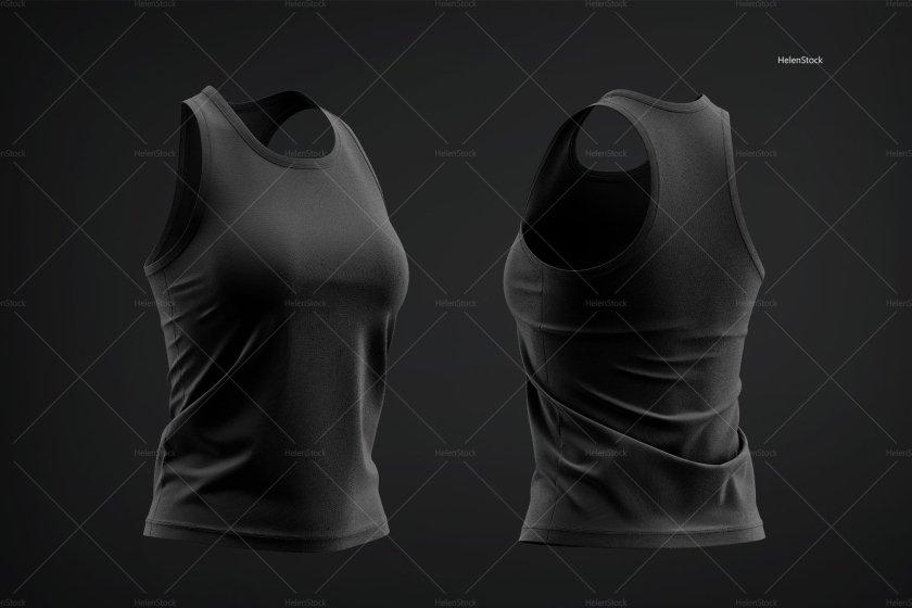 Women's Tank Top Mockup Set Half-Side Black HS-Watermark