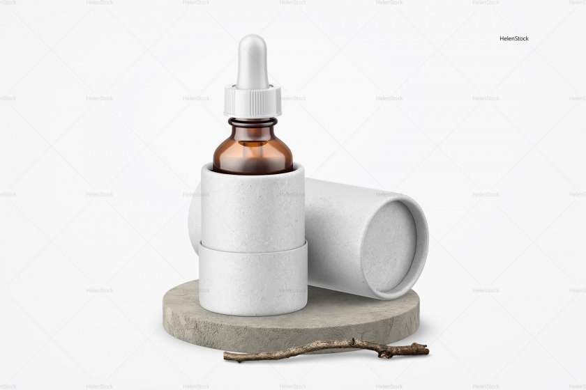 Glass Bottle with Dropper mockup White
